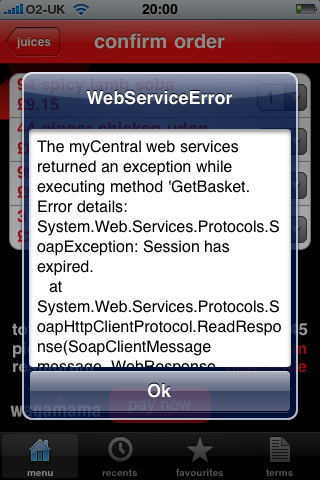 iPhone App Error Message