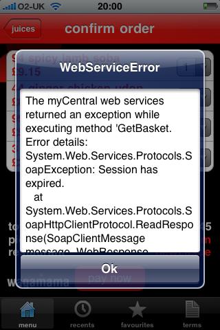 iPhone App Error Message